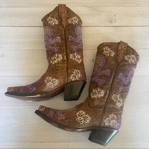 CORRAL Embroidered SKULL Leather Cowgirl Boots 5.5